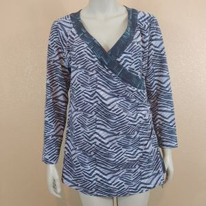 SOFT SURROUNDINGS Wrap Crossover Shirt Large